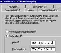 """Zakładka """"Adres IP"""" w ustawieniach TCP/IP - Windows 98"""