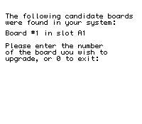 Ekran wyboru slotu, w którym jest umieszczona karta przeznaczona do przeflashowania (w tym przypadku A1)