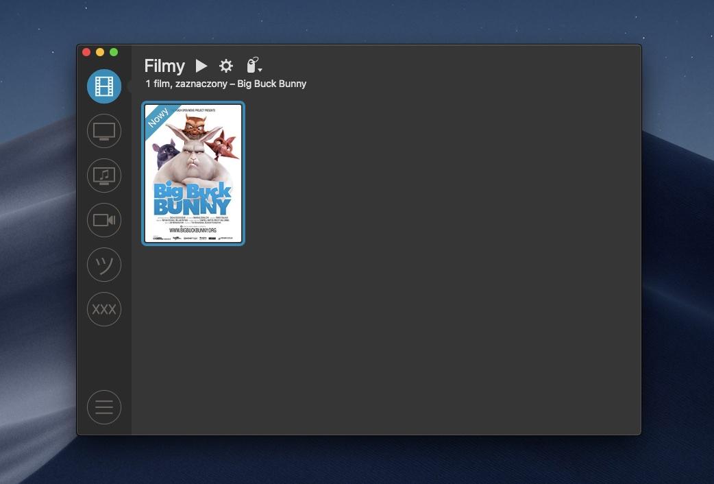 Zrzut ekranu PYM Playera 6.0.7 wstylu ciemnym wsystemie macOS Mojave
