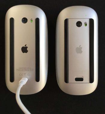 Dwie generacje Magic Mouse. Polewej ładowanie odspodu...
